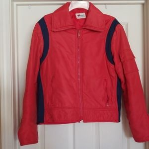 Vtg 80s Rain Snow Apres Ski Zip Up Pockets Jacket